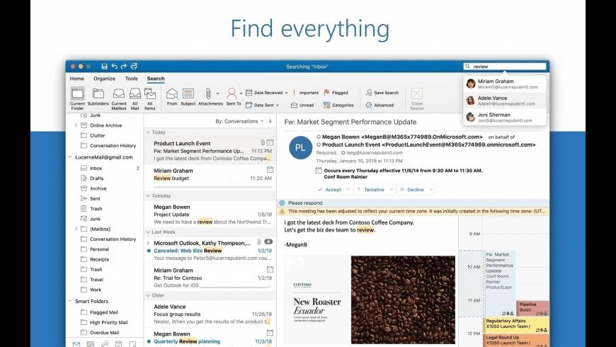 Microsoft Outlook for Mac - review, screenshots