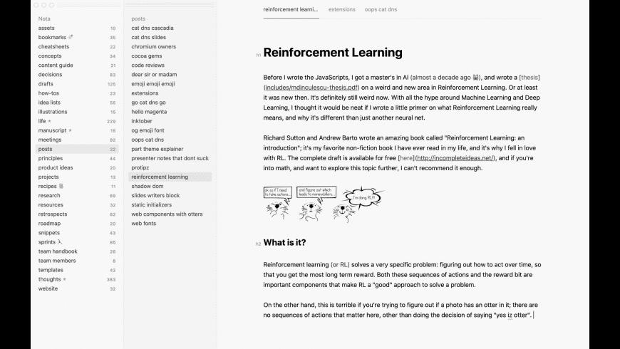 Nota for Mac - review, screenshots
