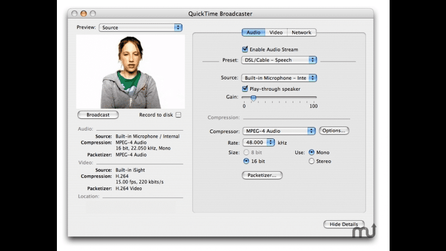 Apple QuickTime Broadcaster for Mac - review, screenshots