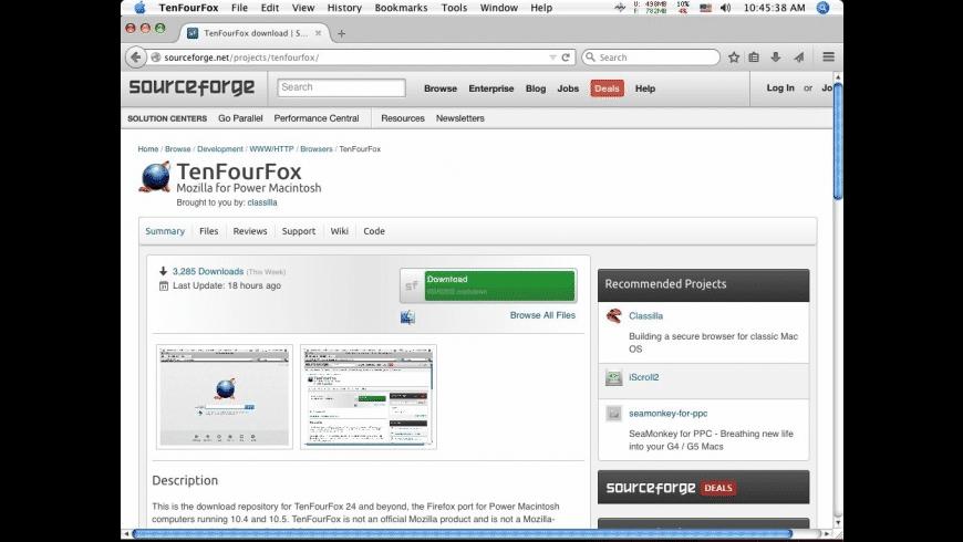 TenFourFox for Mac - review, screenshots