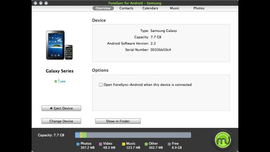 FoneSync for Android - Samsung for Mac - review, screenshots