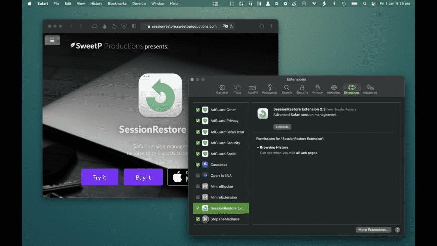 SessionRestore for Mac - review, screenshots
