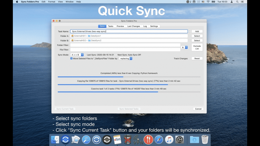 Sync Folders for Mac - review, screenshots