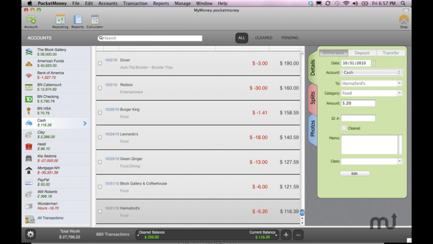 PocketMoney for Mac - review, screenshots