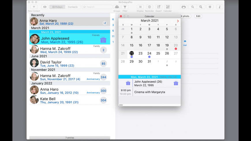 BirthdaysPro for Mac - review, screenshots