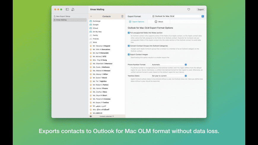 Exporter for Contacts 2 for Mac - review, screenshots