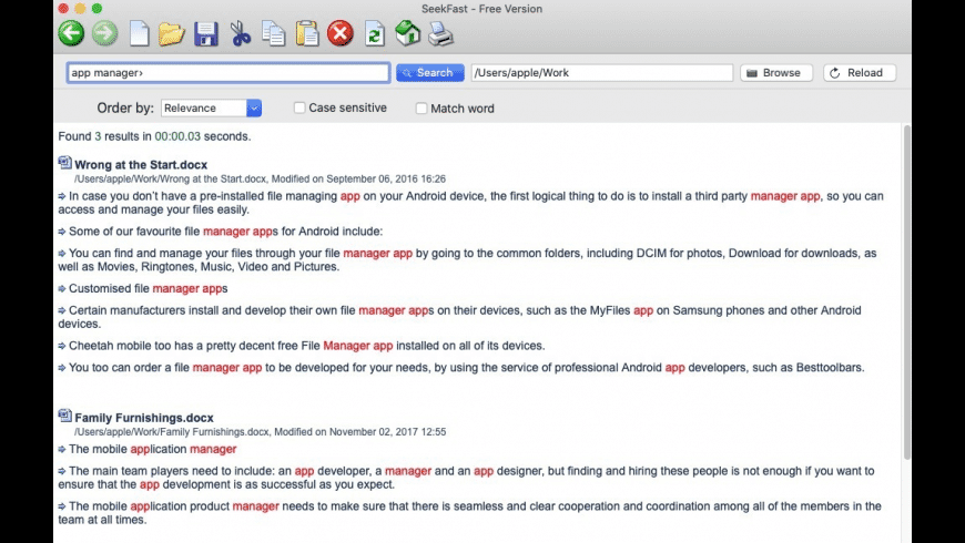 SeekFast for Mac - review, screenshots