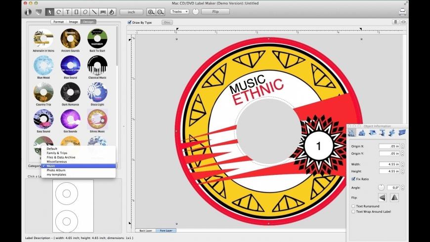 CD-DVD Label Maker for Mac - review, screenshots