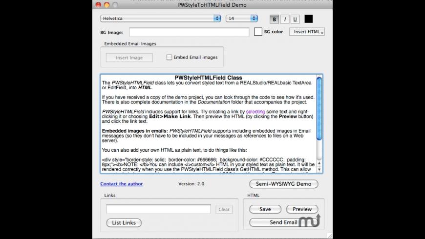 PWStyleHTMLField for Mac - review, screenshots