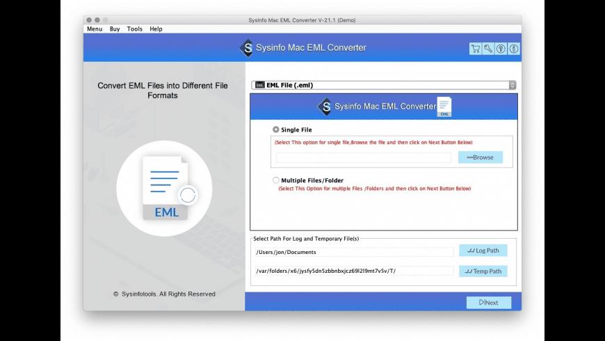 SysInfoTools Mac EML Converter for Mac - review, screenshots