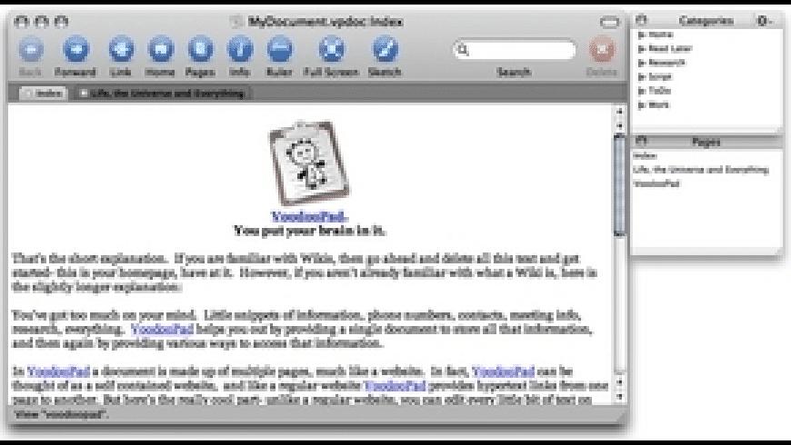 VoodooPad Lite for Mac - review, screenshots