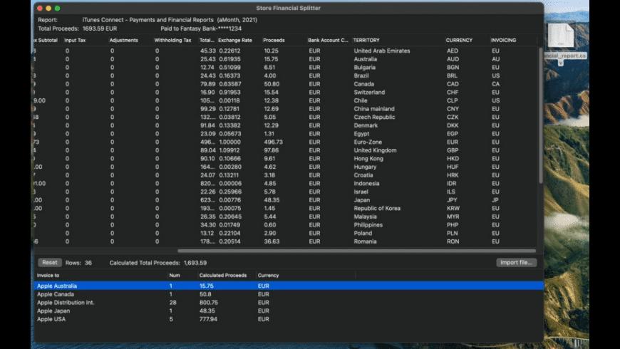 Store Financial Splitter for Mac - review, screenshots
