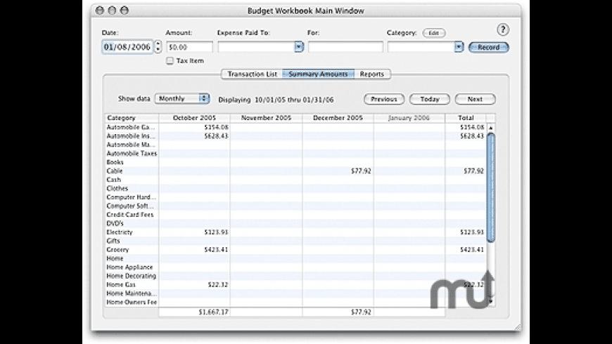 Budget Workbook for Mac - review, screenshots