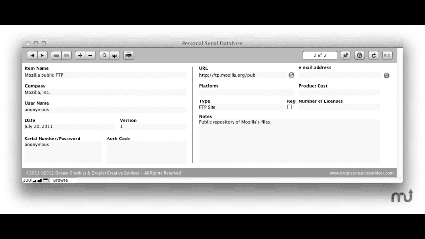 Personal Serial Database for Mac - review, screenshots