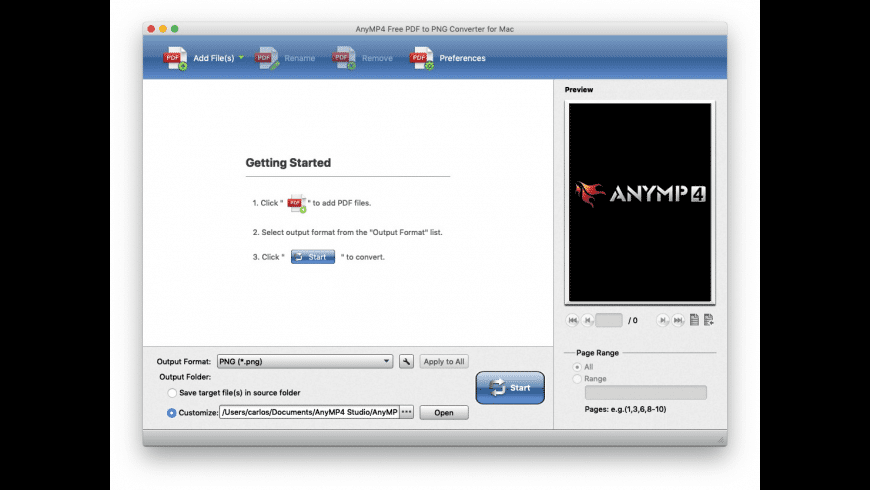 AnyMP4 Free PDF to PNG Converter for Mac for Mac - review, screenshots