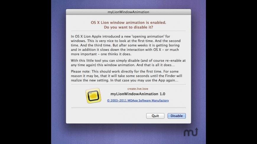 myLionWindowAnimation for Mac - review, screenshots