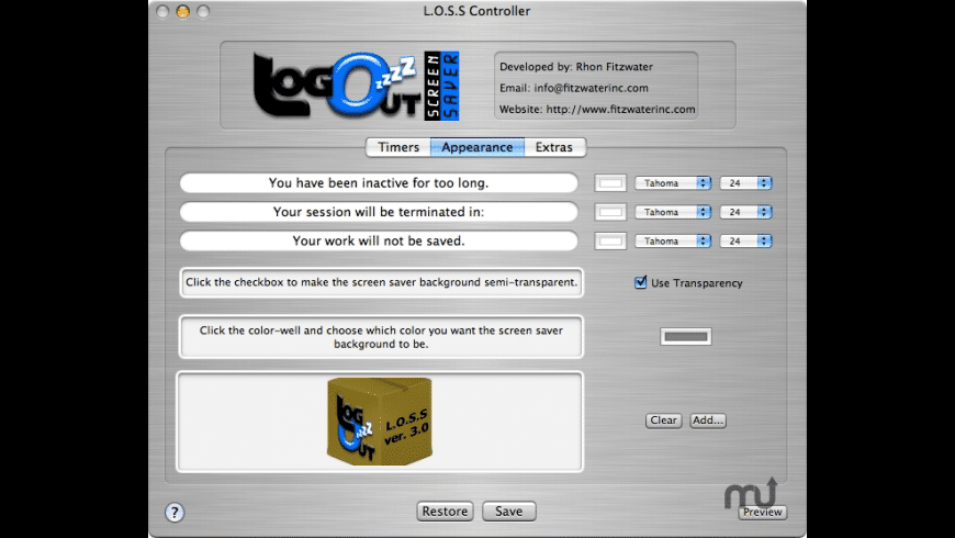 LogOutScreenSaver for Mac - review, screenshots