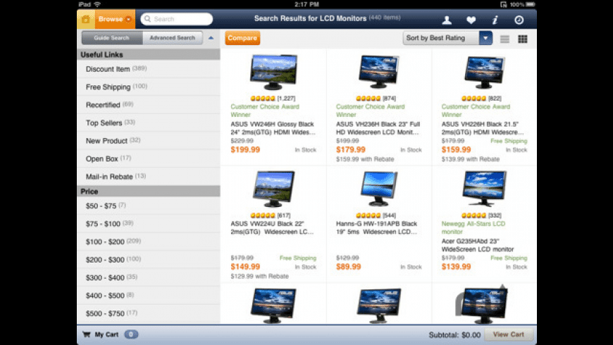 Newegg for iPad for Mac - review, screenshots