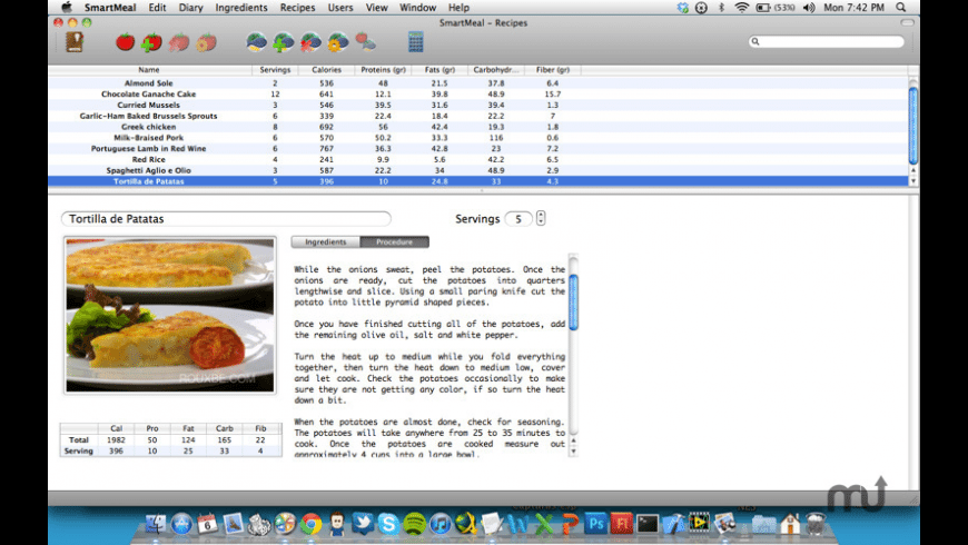 SmartMeal for Mac - review, screenshots