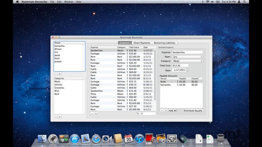 Roommate Reconciler for Mac - review, screenshots
