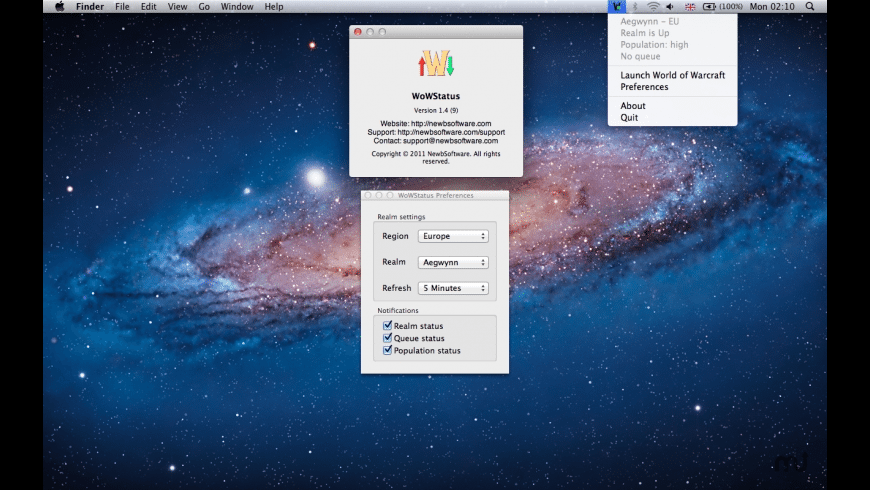 WoWStatus for Mac - review, screenshots