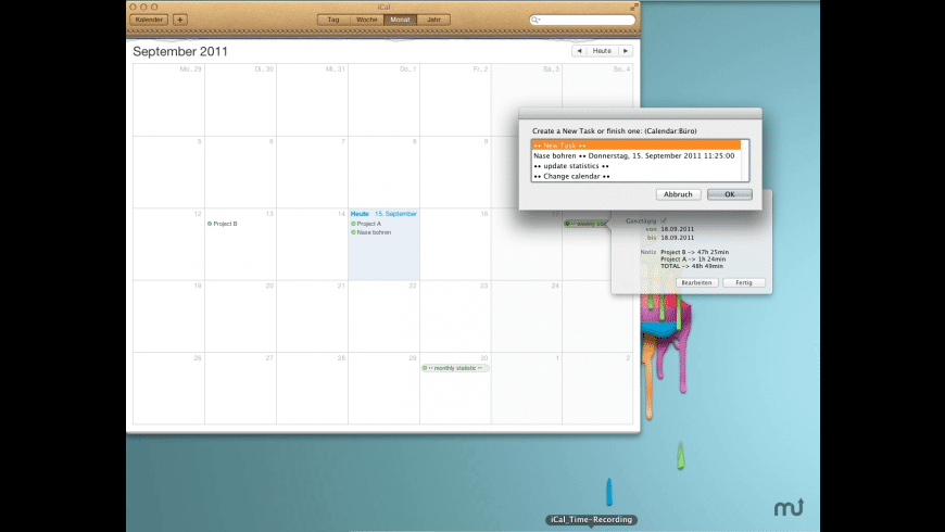 iCal Time-Recording for Mac - review, screenshots
