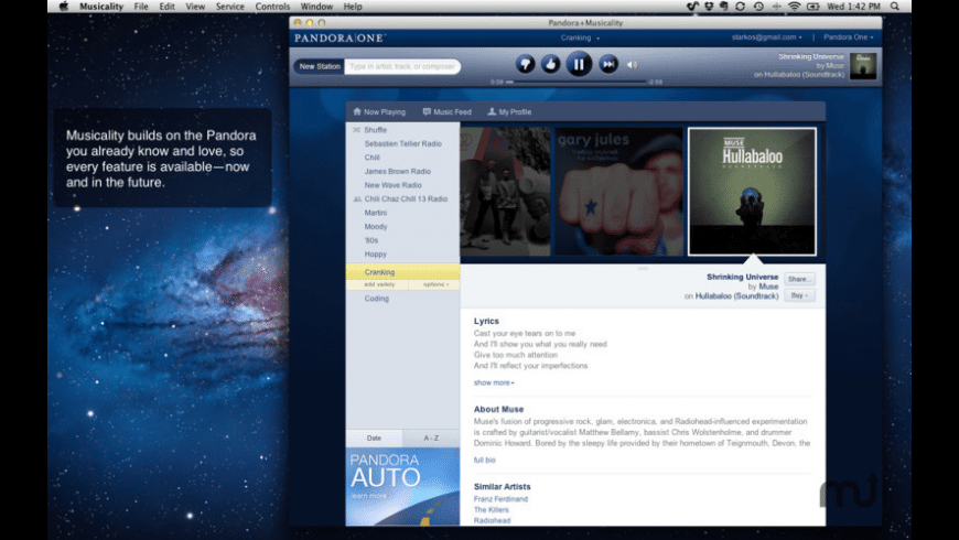 Pandora+Musicality for Mac - review, screenshots