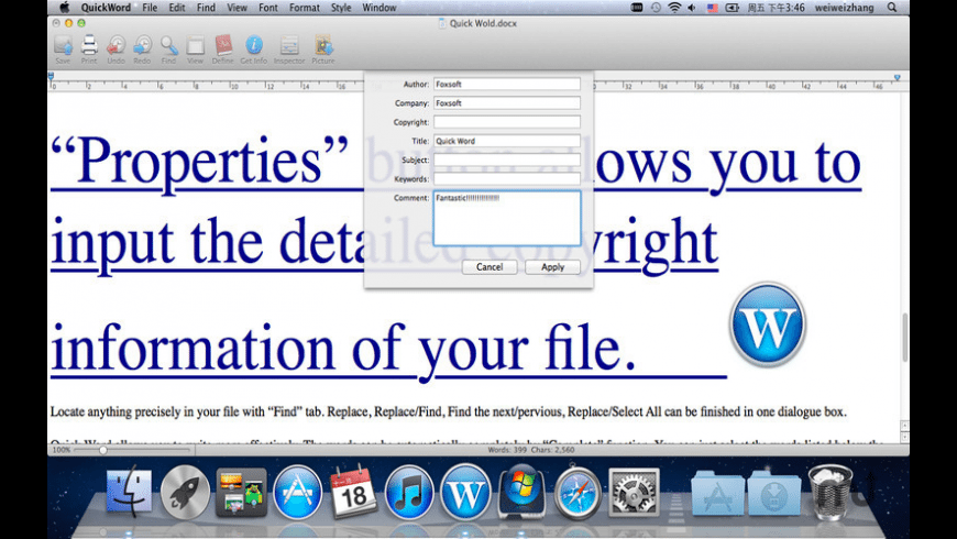 Quick Word for Mac - review, screenshots