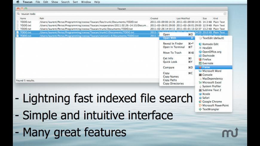 Toucan Search for Mac - review, screenshots