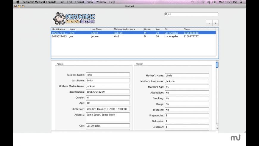 Pediatric Medical Records for Mac - review, screenshots