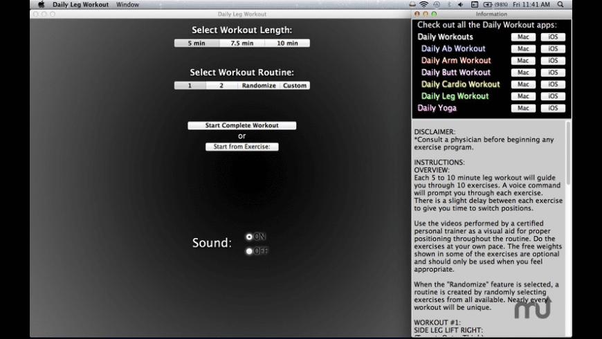 Daily Leg Workout for Mac - review, screenshots