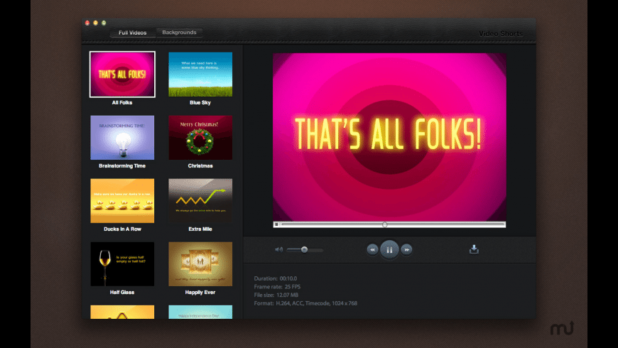 Video Shorts for Mac - review, screenshots