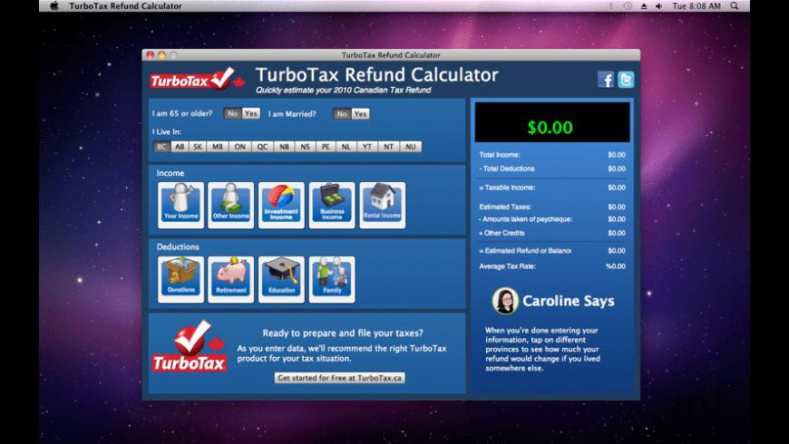 TurboTax Refund Calculator for Mac - review, screenshots