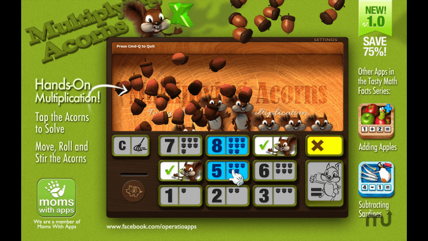 Multiplying Acorns - Tasty Math Facts for Mac - review, screenshots