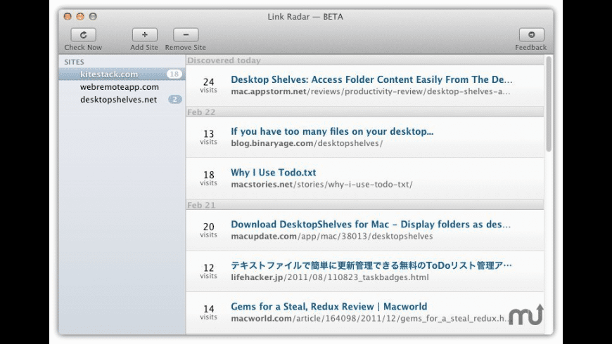 Link Radar for Mac - review, screenshots