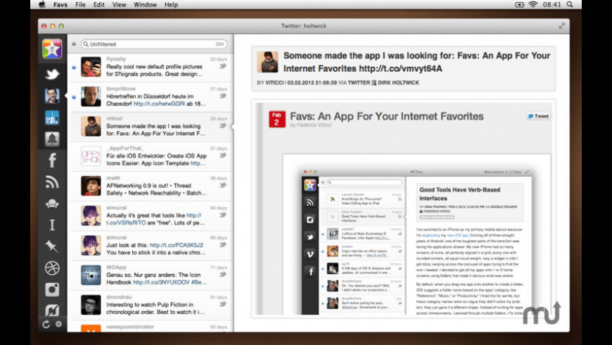 Favs for Mac - review, screenshots