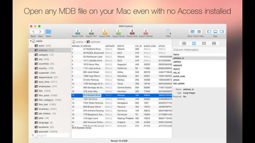 MDB Explorer for Mac - review, screenshots