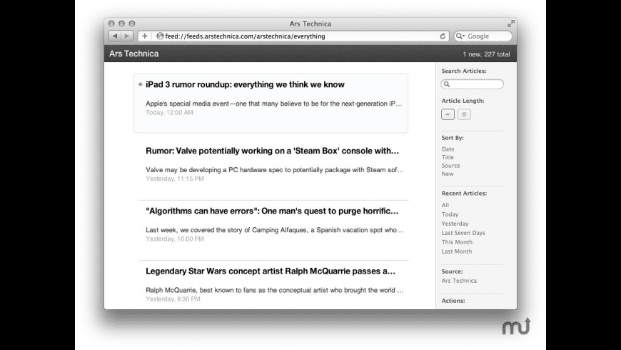 Readable RSS for Mac - review, screenshots
