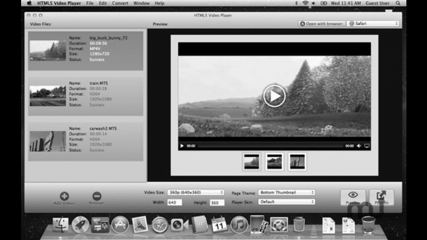 HTML5 Video Player for Mac - review, screenshots