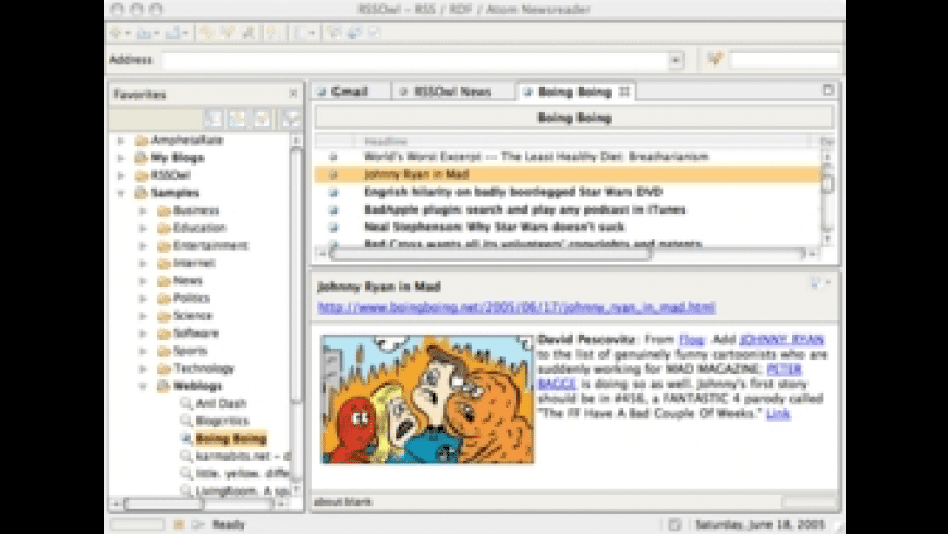 RSSOwl for Mac - review, screenshots