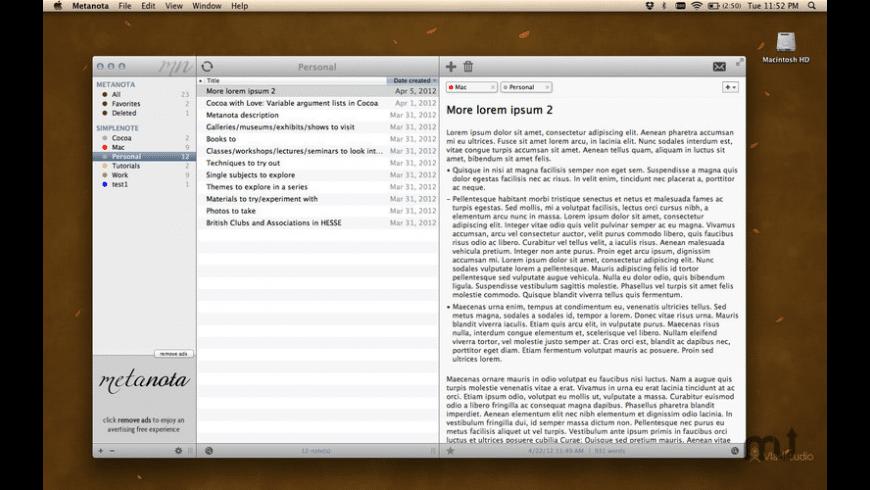 Metanota for Mac - review, screenshots