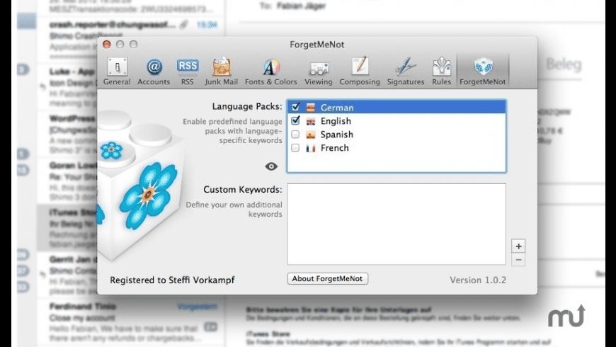 ForgetMeNot for Mac - review, screenshots