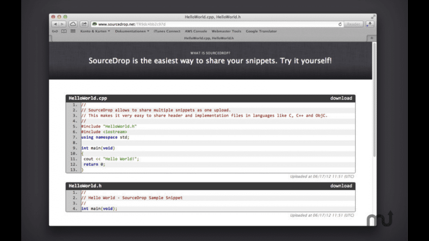 SourceDrop for Mac - review, screenshots