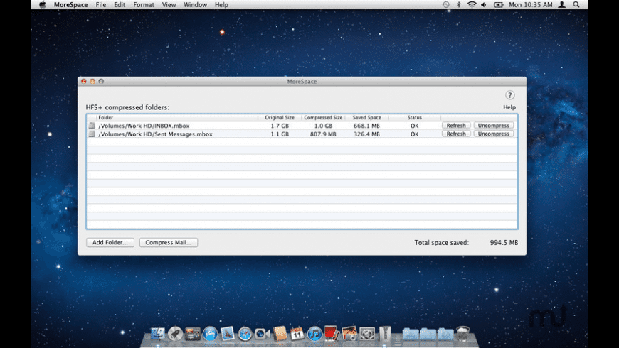 MoreSpace Folder Compression for Mac - review, screenshots