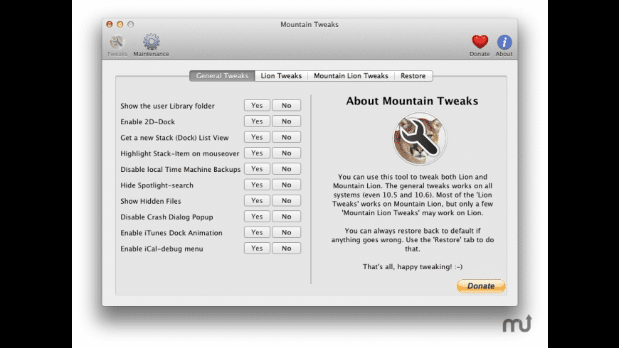 Mountain Tweaks for Mac - review, screenshots