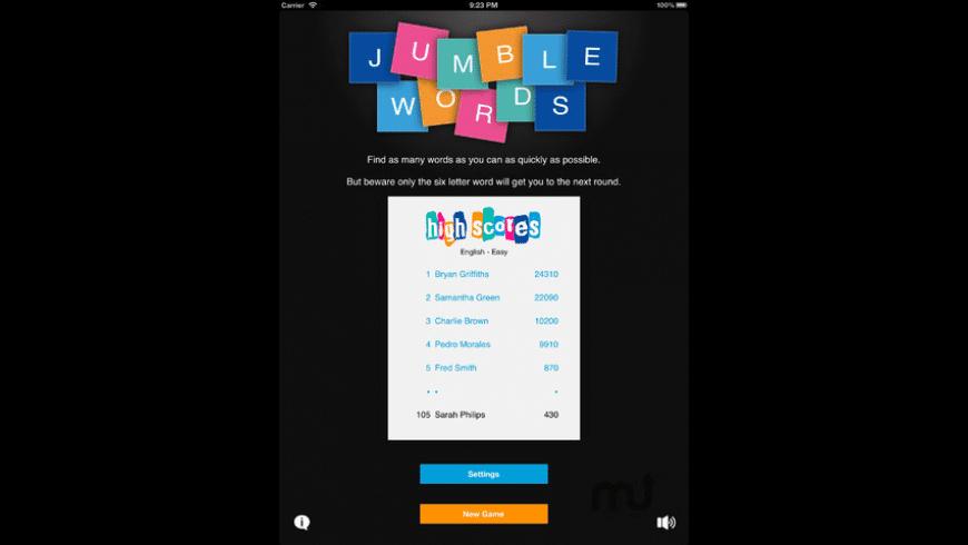 Jumble Words for Mac - review, screenshots