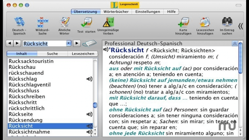 Langenscheidt Professional-Dictionary Spanish for Mac - review, screenshots