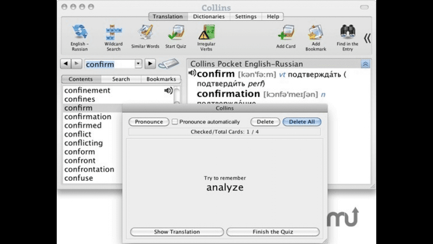 Collins Russian Pocket Dictionary for Mac - review, screenshots