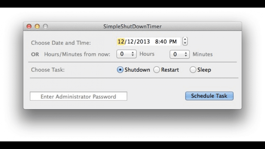 SimpleShutDownTimer for Mac - review, screenshots