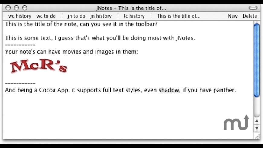 jNotes for Mac - review, screenshots